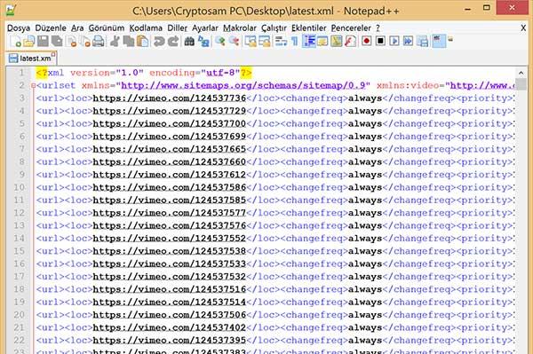 Sitemap dosyası üstteki gibi görünecek.
